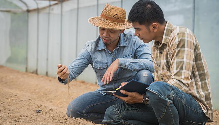 農業を教えている様子