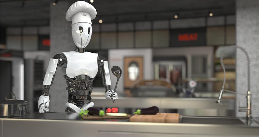 ロボットが料理しているイメージ